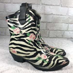 Cowboy Rubber Winter Rain Booties Zebra Floral